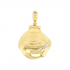 Serene Big Sea Shell Gold Aromatherapy Locket Charm