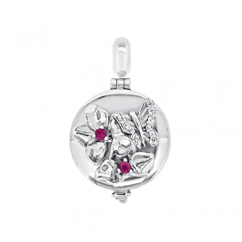 Jardin 925 Silver Pink Sapphire Aromatherapy Solid Perfume Locket Charm