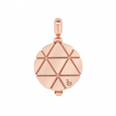 Ornate Triangle Pattern Rose Gold Vermeil Aromatherapy Solid Perfume Locket Charm