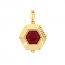 Ornate Hexagonal Gold Aromatherapy Locket Charm