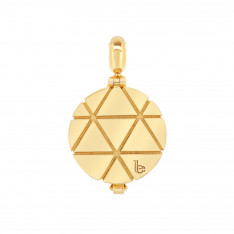 Ornate Triangle Pattern Gold Vermeil Aromatherapy Solid Perfume Locket Charm