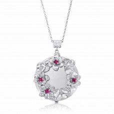 Jardin  Magnolia Garland Silver Aromatherapy Locket Necklace