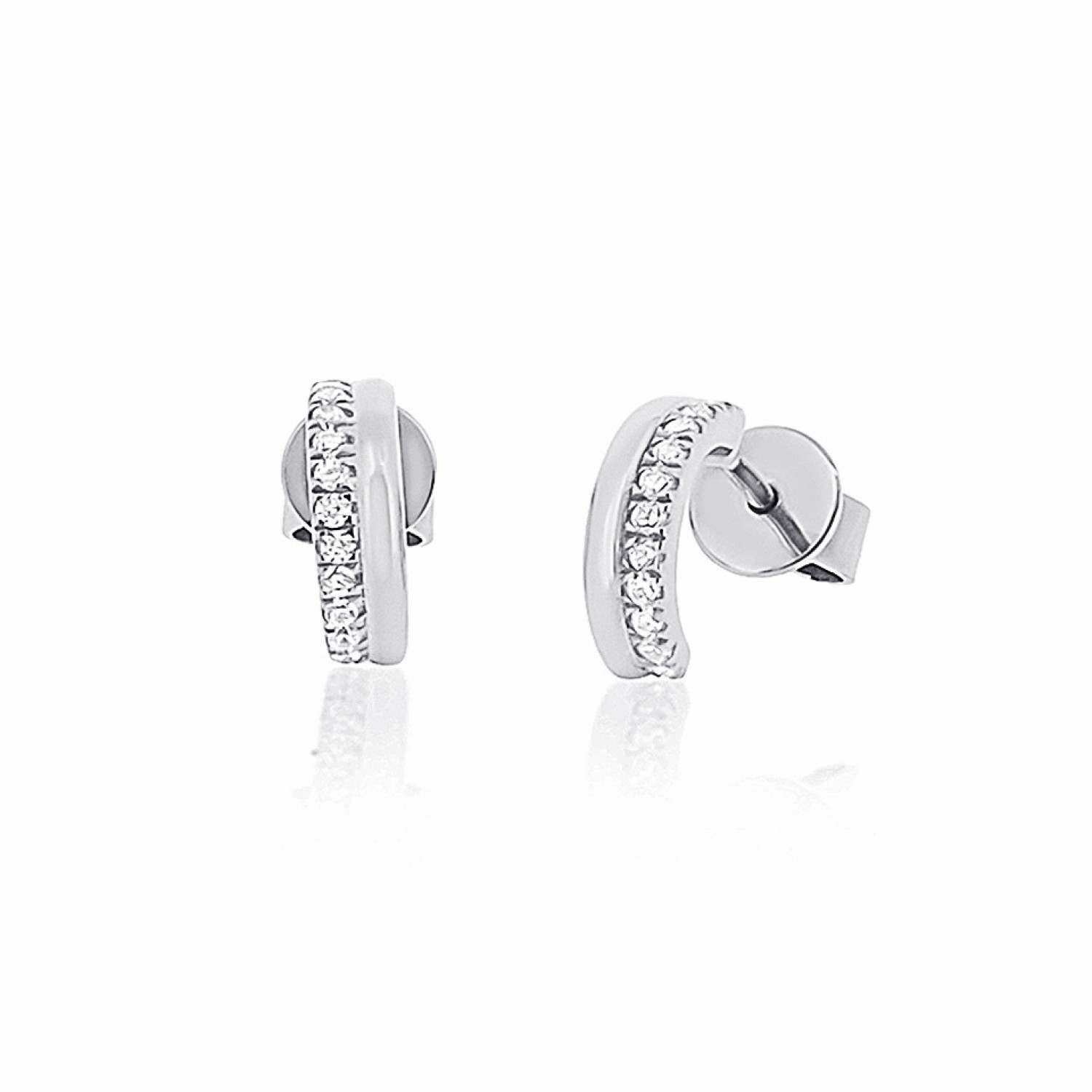 Cocoon Stacking Sparkler Silver Earrings