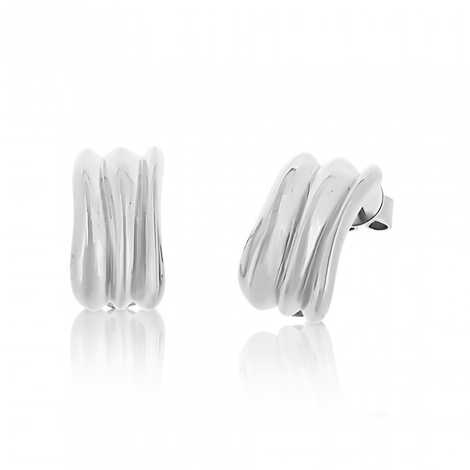 Cocoon Wave Pure Silver Earrings