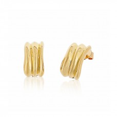 Cocoon Wave Pure Gold Earrings