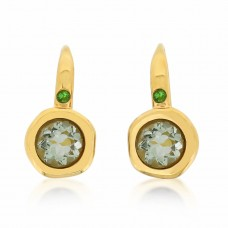 Cocoon Stacking Round Green Amethyst Earrings