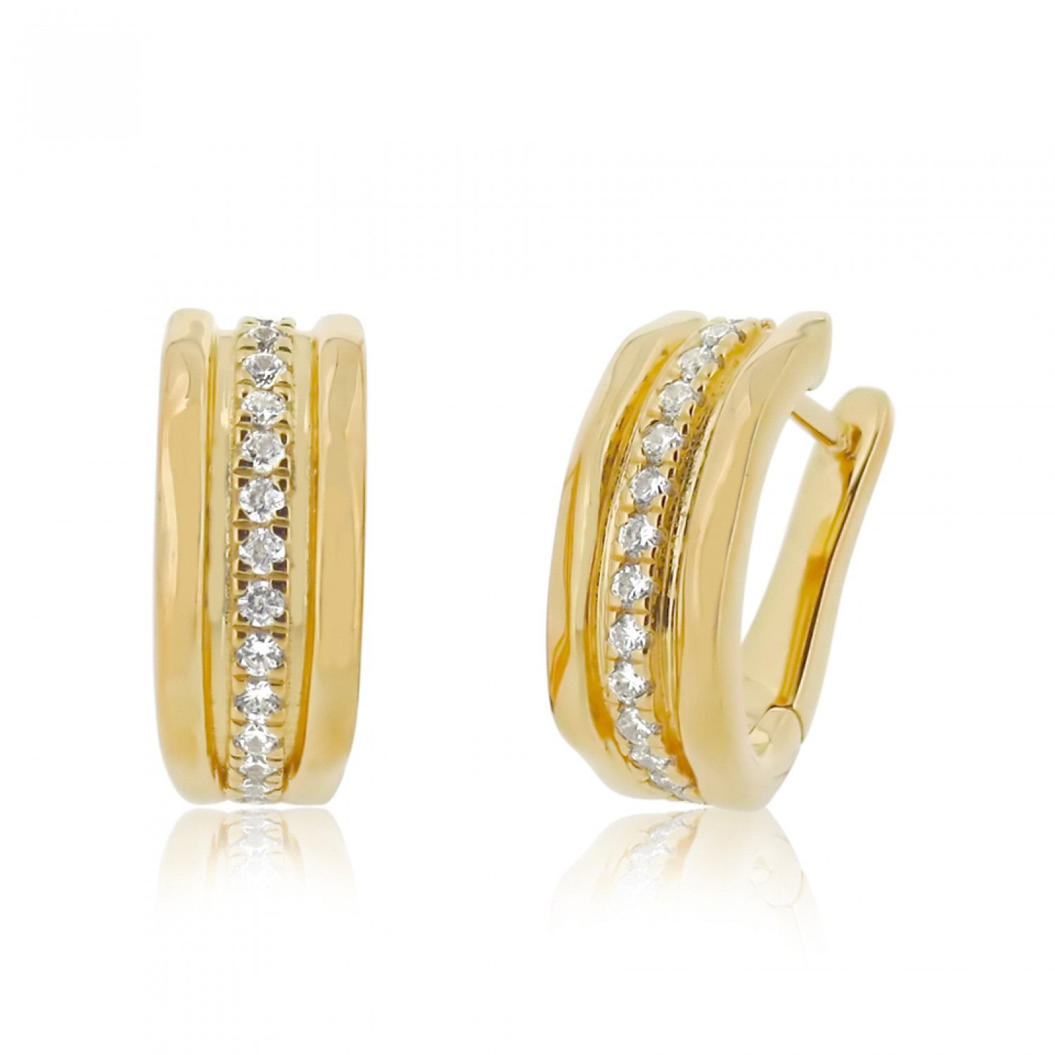 Cocoon Wave Sparkler Gold Earrings