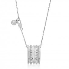 Cocoon Wave Sparkler Silver Necklace