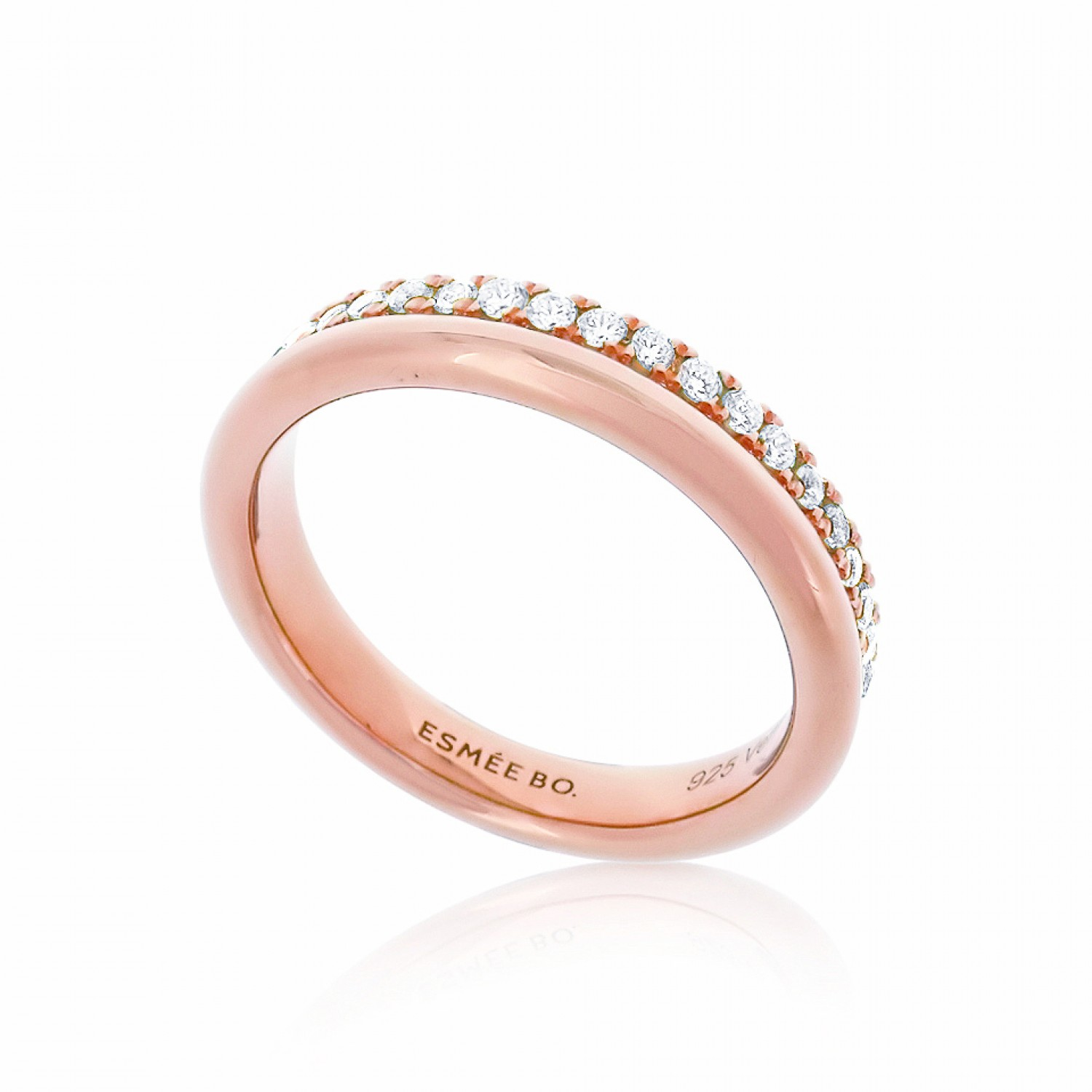 Cocoon Stacking Sparkler Rose Ring