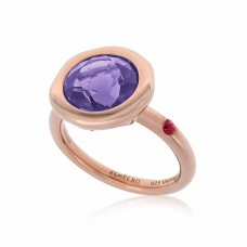 Cocoon Stacking Round Amethyst Ring