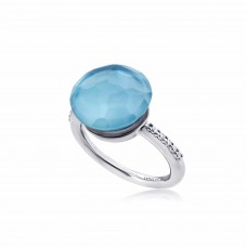 Cocoon Doublet Sky Blue Topaz Ring