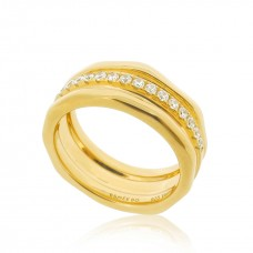 Cocoon Wave Sparkler Gold Ring