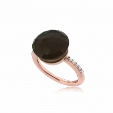 Cocoon Doublet Smoky Topaz Ring