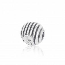 Round Striped Silver Embellishment