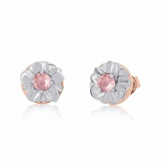 Jardin Two Tone Magnolia Rose/Silver Earrings