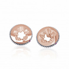 Jardin Magnolia Coin Rose Gold Vermeil/Silver Pink Sapphire Earring