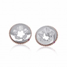 Jardin Magnolia Coin Silver/Rose Earrings