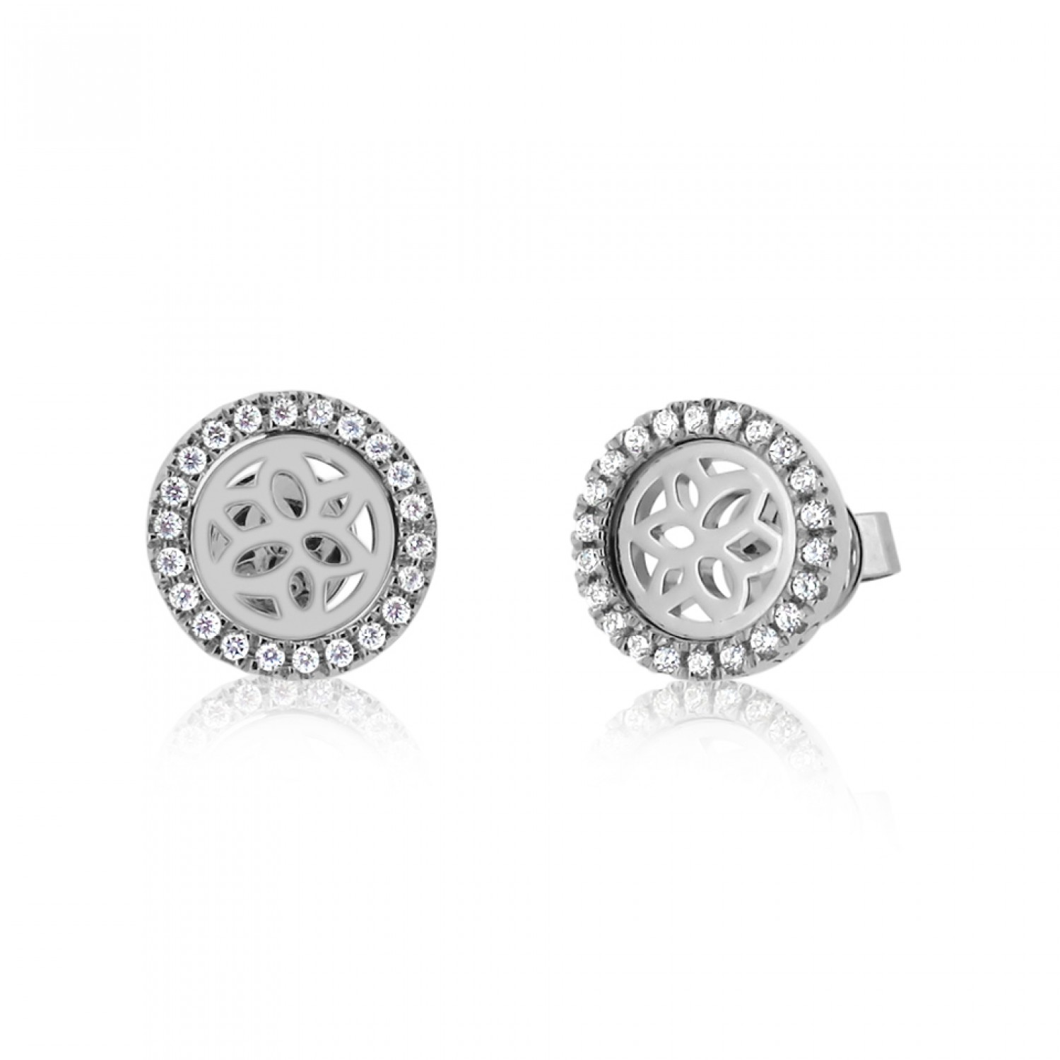 Jardin Magnolia Motif Silver Earrings