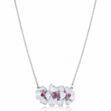 Jardin Triple Magnolia Silver Necklace