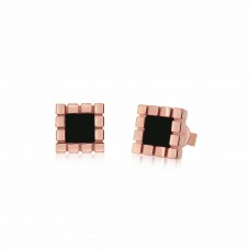 Ornate Tile Onyx Earrings