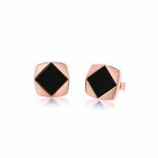 Ornate Pure Square Rhombus Onyx Earrings