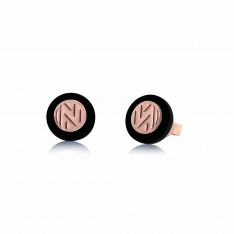 Ornate Cultural Rose Gold Vermeil Onyx Stud Earring