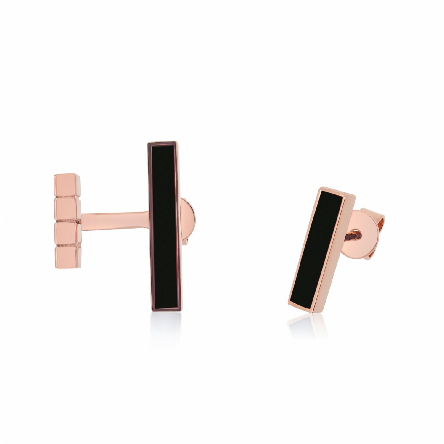 Ornate Asymmetrical Bar Onyx Earrings
