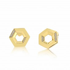 Ornate Hexagonal Gold Earrings