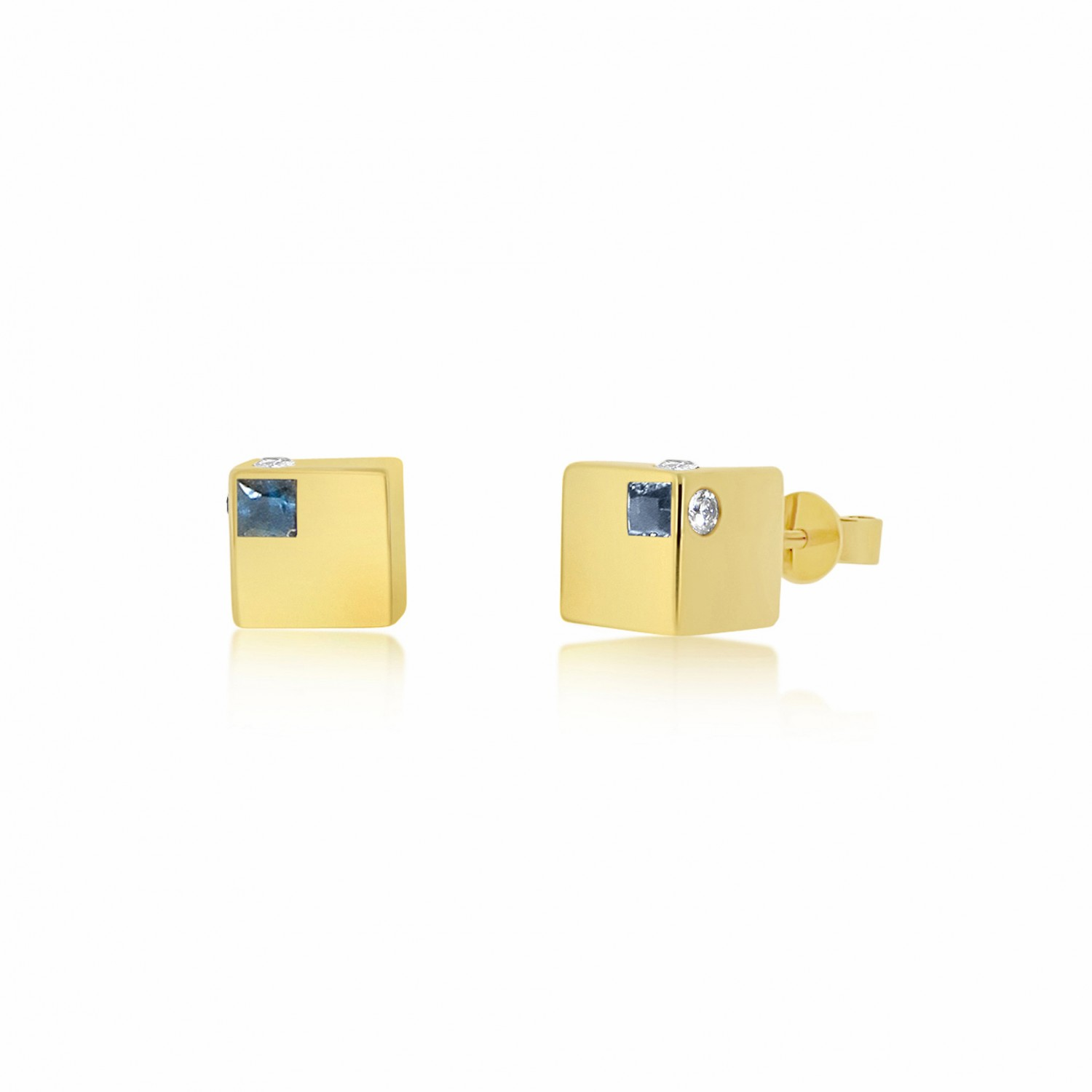 Ornate Cube Gold Earrings
