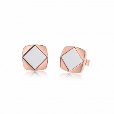 Ornate Pure Square Rhombus White Agate Earrings