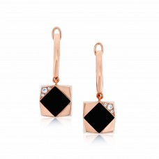 Ornate Square Rhombus Onyx Earrings