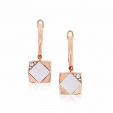 Ornate Square Rhombus White Agate Earrings