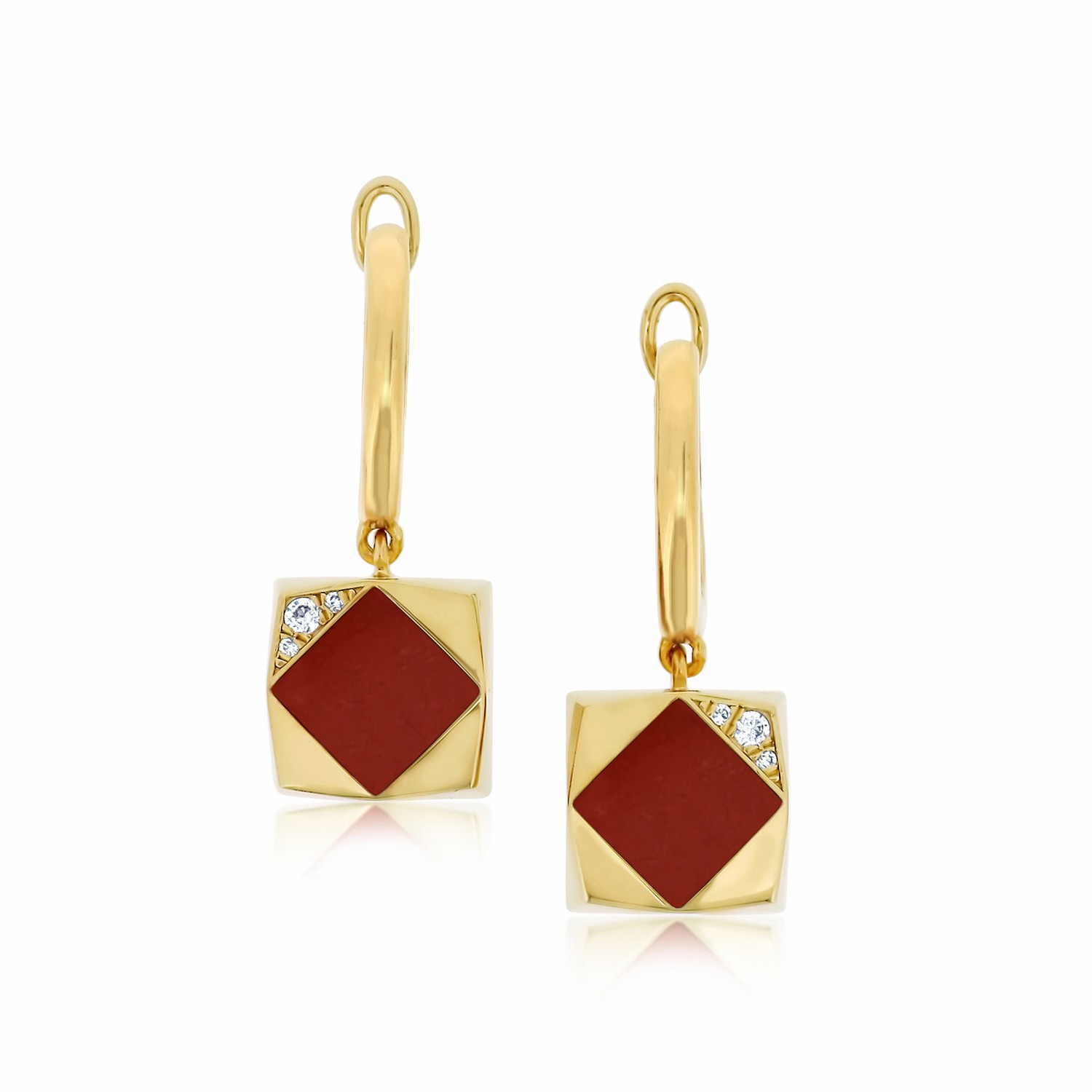 Ornate Square Rhombus Red Agate Earrings