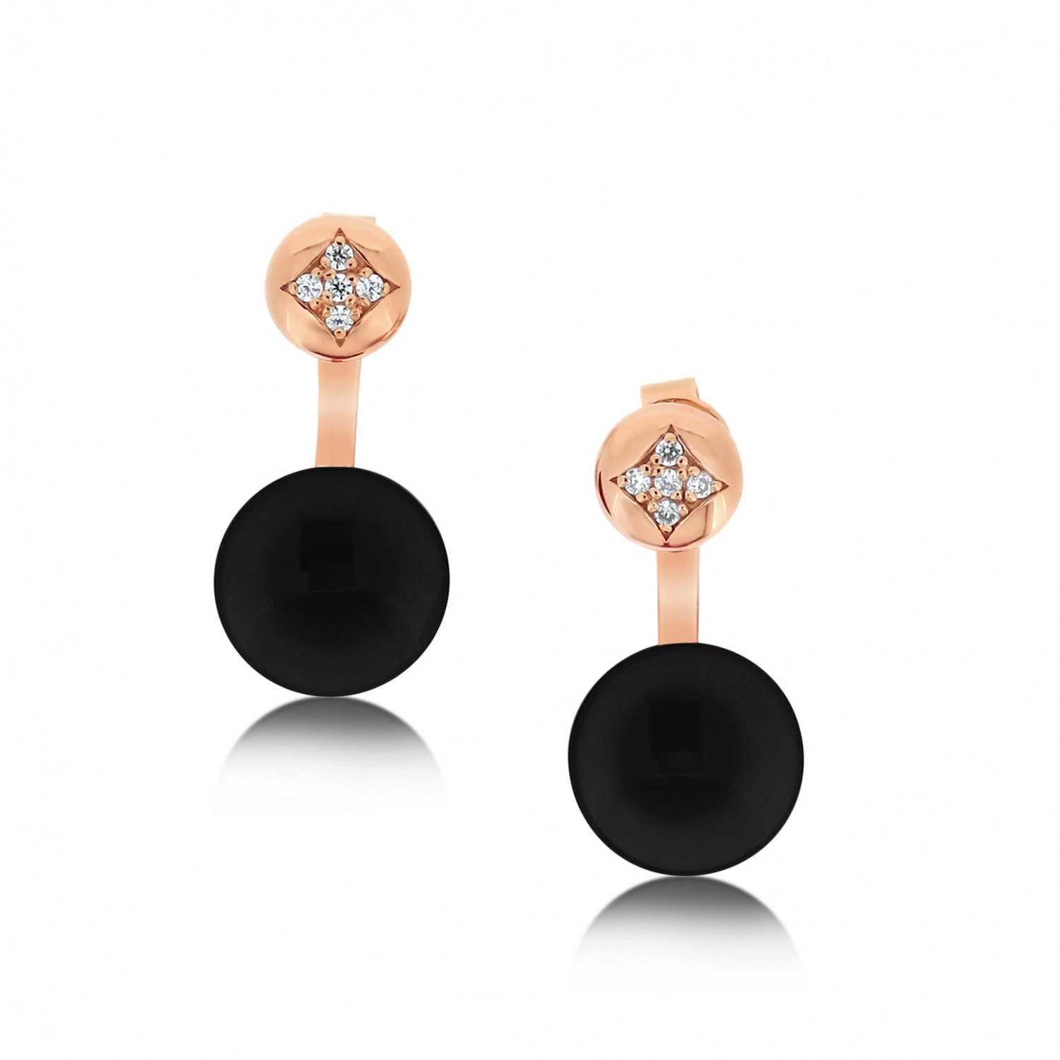 Ornate Disk Onyx Jacket Earrings