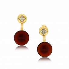 Ornate Disk Red Agate Jacket Earrings