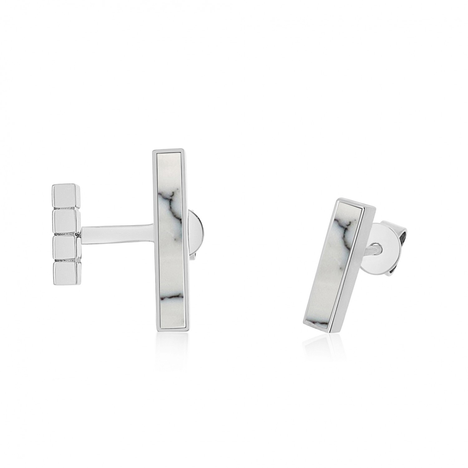 Ornate Asymmetrical Bar White Turqroise Earrings