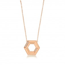 Ornate Hexagonal Rose Necklace