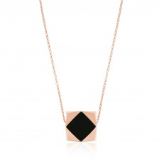 Ornate Square Rhombus Onyx Necklace