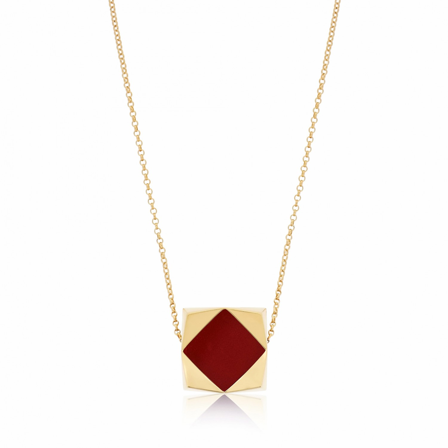Ornate Square Rhombus Red Agate Necklace