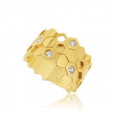 Ornate Hive Gold Ring