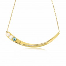 Serene Stingray Tail Sky Blue Topaz Necklace