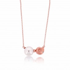 Serene Spiral Sea Shell Rose Necklace