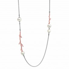 Serene Coral Pearl Rose Necklace