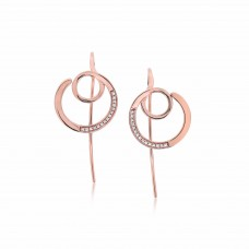 Twine Knitting Round Rose Earrings