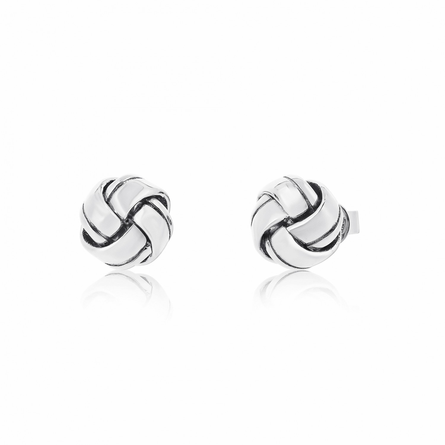 Twine Knot Pure Silver Earrings