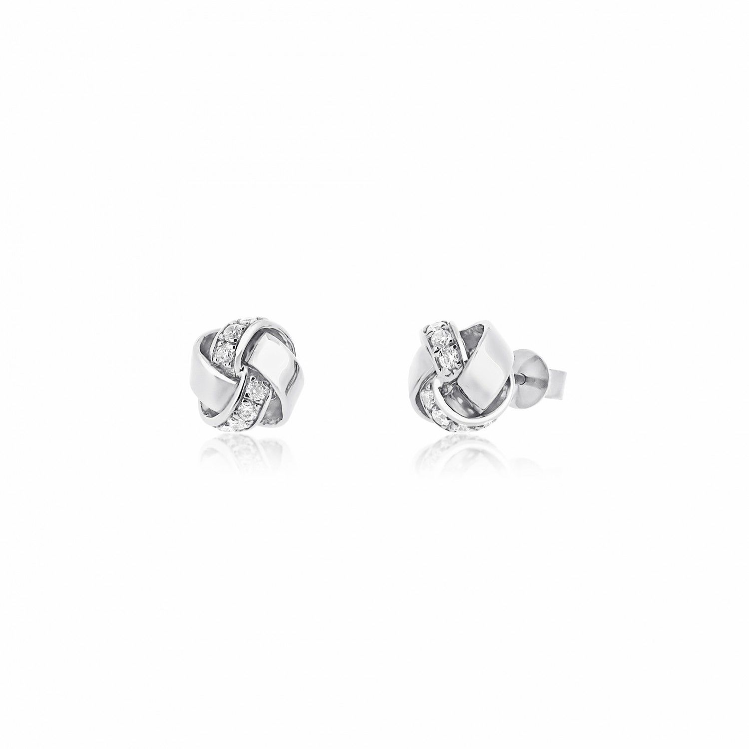 Twine Knot Sparkler Silver Earrings