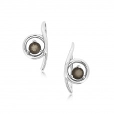 Twine Curly Loop Silver Earrings