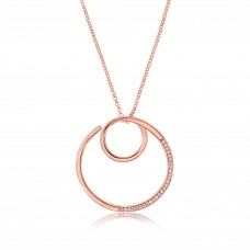 Twine Knitting Round Rose Necklace