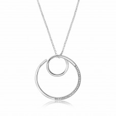 Twine Knitting Round Silver Necklace